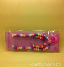 2件套新款韩版串珠儿童项饰套装混批 义乌5元店货源 七彩色项链
