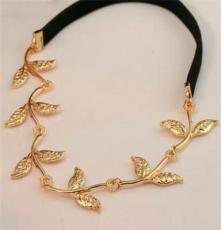欧美时尚英伦风 明星同款 橄榄枝树叶装饰发带发饰头饰批发
