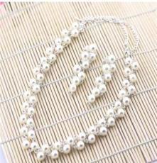 韩式新娘饰品 项链饰品结婚纱配饰 礼服首饰项链耳环套装批发TZ01
