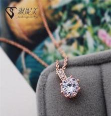 韩国代购锆石项链 优雅气质玫瑰金马眼水晶镶锆石锁骨链 女项饰