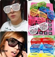 Y06 男女通用夜店派对 百叶窗眼镜 彩色胶框百叶窗眼镜