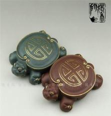 宜興紫砂茶寵 24K描金壽龜 紫砂龜 蓋托 工藝禮品 精品擺件
