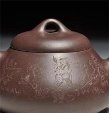 宜兴紫砂壶现代半手工艺术正品 茶壶茶具原矿紫泥汉棠石瓢童子壶
