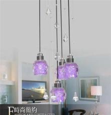 厂家直销 餐厅水晶吊灯 4头创意吊灯 现代简约 书房餐厅 温馨灯具