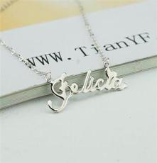 TYF 925银字母素银项链 韩流首饰 银饰品套链 一体链项饰 批发