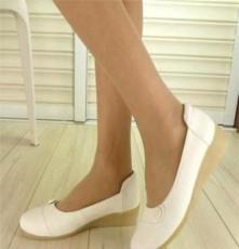 批发白工作鞋 真皮白工作鞋 坡跟白工作鞋 新款护士白工作鞋