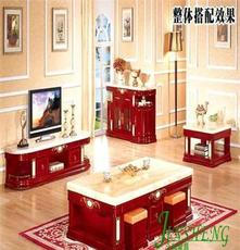 欧式高档客厅实木家具批发 大理石实木电视柜 视听柜 储物柜 地柜