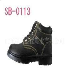 廠家直銷高幫冷粘黑牛皮安全鞋 防護鞋 勞保鞋