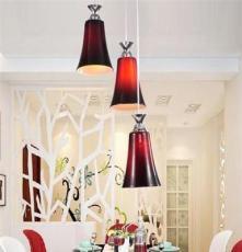 凡人 现代简约高贵红 玻璃吸顶三头吊灯 餐厅灯具 客厅灯具 书房