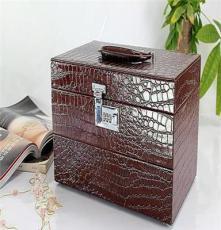 厂家直供 欧美首饰收纳盒欧式皮制高档复古首饰木盒珠宝箱 化妆箱
