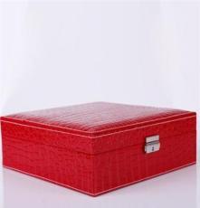 皮革带手表大正方首饰盒 鳄鱼纹首饰盒 高档首饰盒 饰品盒批发