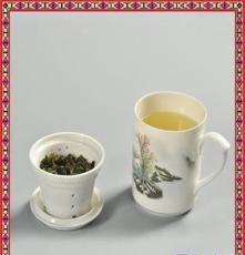 景德鎮年年有余陶瓷茶杯 帶蓋骨瓷水杯 青花瓷辦公會議杯子