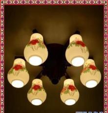 景德鎮薄胎陶瓷中式復古藝術吸頂燈 臥室陽臺吊燈廠家