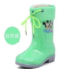 批发外贸儿童加绒保暖雨靴 防水防滑卡通款中筒鞋 加厚胶鞋