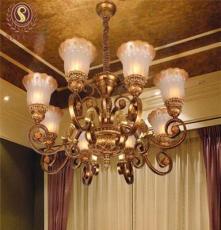 廠家直銷鐵藝燈歐式仿古樹脂大工程吊燈 酒店臥室吊燈