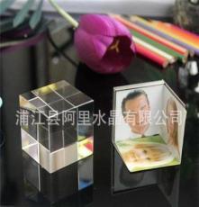 水晶魔方,水晶旋转方体,可做三面影像
