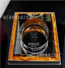 华泽水晶 180mm水晶四方镀银烟灰缸 八角镀银水晶烟灰缸