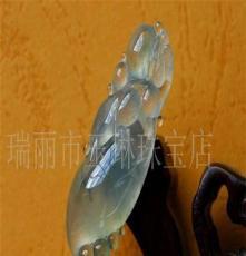 珠宝玉石 缅甸玉石翡翠 玻璃种起荧光挂件(图)