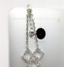 新款耳机塞 吊坠耳机塞 钻石心型 蝴蝶 手机防尘塞 手机挂件批发