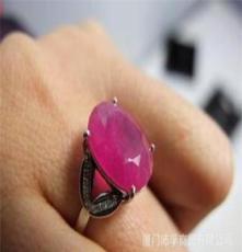 天然红宝石 璀璨红宝镶18K白金钻石戒指 12号戒圈 时尚大方
