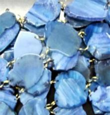 特色蓝色不规则玛瑙片串珠(图)