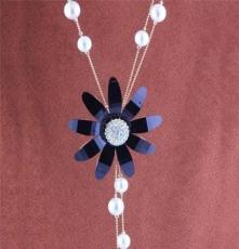 淘宝热卖 XL0695 唯美镶钻向日葵珍珠毛衣链 长项链 配饰 项饰