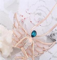 2014新款毛衣链 韩版天使翅膀 胸针猫眼石项链 厂家直销