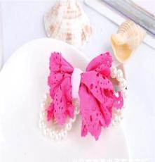 库存低价镂空纺织布艺 镶珍珠钻蝴蝶结发夹 韩版发饰批发