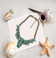 A-0002韩国风流行项链夸张短款镶钻项饰合金材质仿真饰品