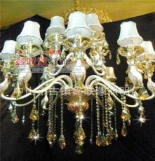 灯具批发 锌合金双色天鹅头蜡烛吊灯/现代水晶吊灯/酒店吊灯