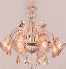 直销长庚2015新款蜡烛灯图片,香槟金锌合金琥珀+内白餐吊灯