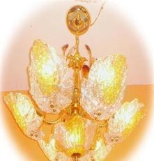 厂家直供 实店体销量排前的带茶色水晶砂叶片餐吊灯