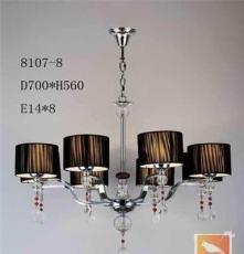 現代式吊燈、E14燈頭、五金燈體配水晶柱+水晶吊飾、質量保證