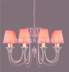 利业 供应欧式吊灯现代田园吊灯家居吊灯布罩吊灯卧室18048-8F