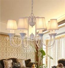 利业 供应欧式吊灯现代田园吊灯家居吊灯布罩吊灯卧室18048-8