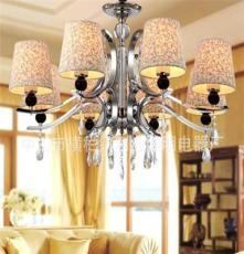 利业 供应欧式现代简约吊灯水晶吊灯家居吊灯布罩吊灯12075-8