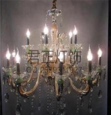 供应厂家直销欧式客厅卧室餐厅灯 干邑色双层玻璃弯管蜡烛水晶灯