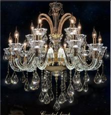 欧式水晶吊灯客厅弯管发光LED蜡烛灯餐厅奢华水晶吊灯一件代发