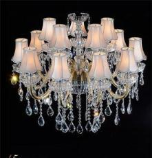 智造灯饰式水晶灯 吸顶吊灯具 复古布艺灯罩客厅餐厅卧室灯饰