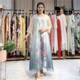 恩妮丝2020春季女装新款真丝蚕丝连衣裙