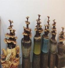 新孔雀纹陶瓷中型灵芝盆景 御生坊批发供应适合家居公司摆设