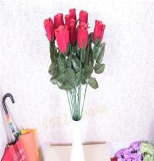 仿真单枝红色玫瑰花 小玫瑰假花绢花 家居装饰花七夕情人礼物