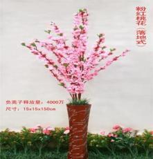 专业品质供应创意仿真花草盆景大红桃花落地式负离子活氧生态盆景