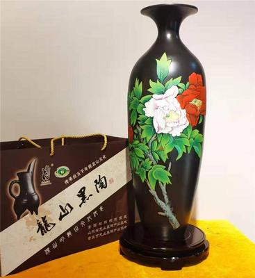 黑陶彩陶牡丹花瓶 章丘龙山黑陶礼品摆件