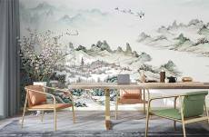 JCC天洋免胶水 乐在山水间 新中式山水壁画