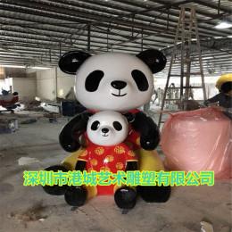 商场美陈装饰玻璃钢熊猫卡通雕塑定制价格厂