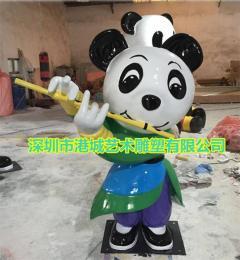深圳玻璃钢熊猫卡通公仔雕塑定制零售价格厂