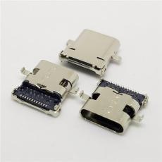 TYPE C母座沉板1.3mm前插后贴24P 长度10mm
