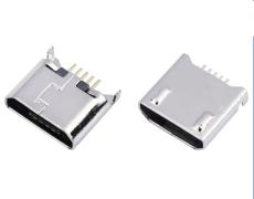 MICRO USB 5P沉板1.2母座SMT后两脚DIP插板