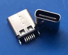 焊板式 简易型TYPE C夹板母座16P 四固定脚